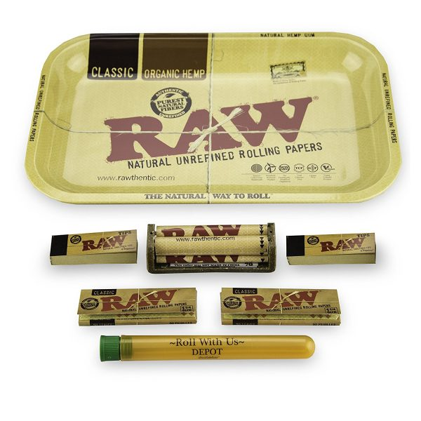 Raw rolling papers with tray