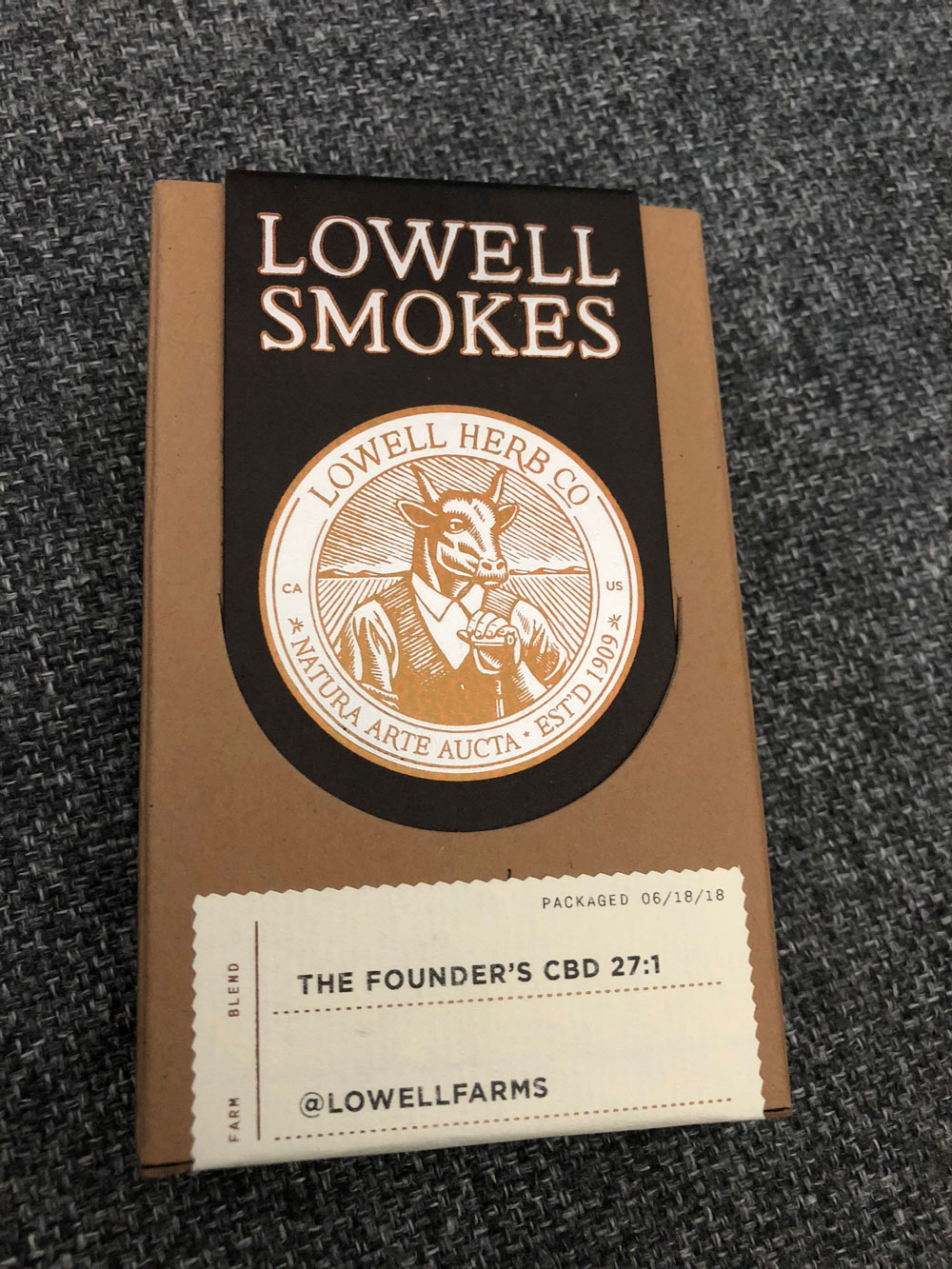 Review of Lowell Smokes Pre rolls - pack front