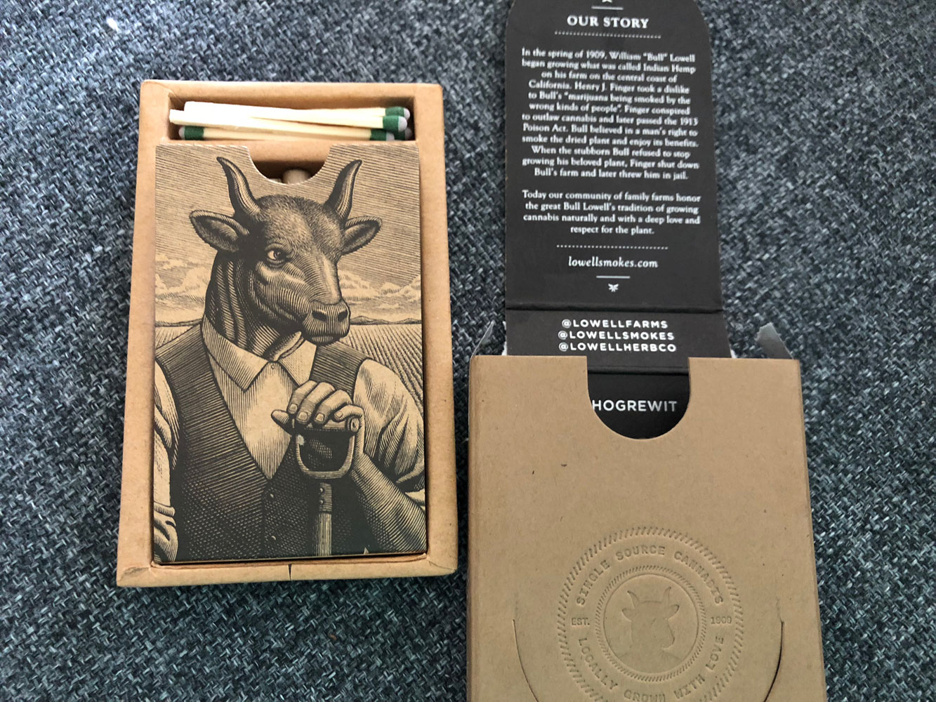 Review of Lowell Smokes Pre rolls - pack inner container and matches